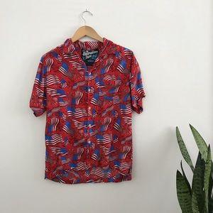 a4ced854 Rowdy Gentleman Hawaiian Shirt American Flag M B3